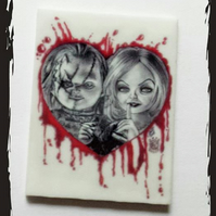 Bride of Chucky themed Planer resin  Cabochons. Chucky & Tiffany. Alternative.