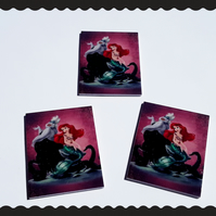 3 x Ariel and Ursula, The little mermaid themed resin cabochons. Shrinkies.