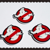 3 x Ghostbusters inspired planer resin cabochons. 80's, movies.