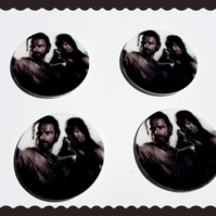 4 x The walking dead inspired planer resin cabochons. Zombies.