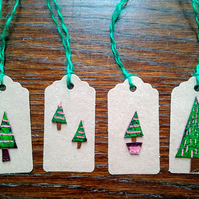 Christmas gift tags - leather Christmas tags, Christmas tree gift wrap