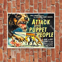 Attack Of The Puppet People Vintage Sci Fi A4 Poster or A5 Greetings Card