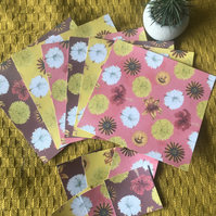 Mexicana Flower Note Cards Set -12 x large at 20cm square and 12 at  7cm square