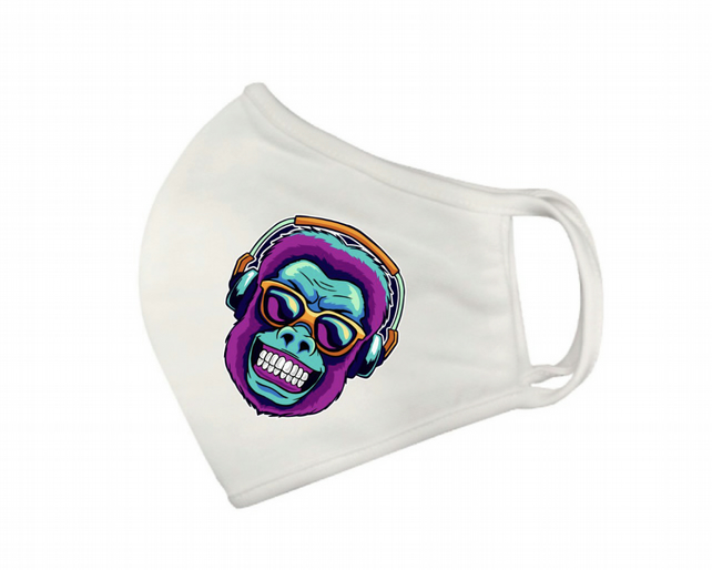 Printed Cartoon  Rocker Monkey Washable Facemask in White