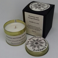 Rosemary and Orange Blossom Handmade Candle in a Tin