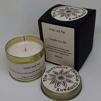 Lime and Fig Handmade Candle in a Tin