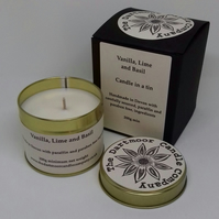 Vanilla Lime and Basil Candle in a Tin
