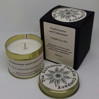 Frankincense and Cedarwood Handmade Candle in a Tin