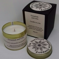 Geranium and Lime Handmade Candle in a Tin