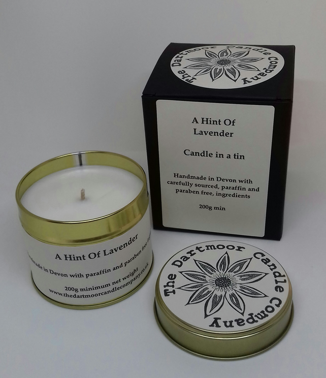 A Hint of Lavender Handmade Candle in a Tin