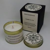 Rich Sandalwood Handmade Candle in a Tin