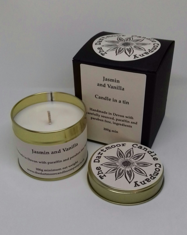 Jasmin and Vanilla Handmade Candle in a Tin