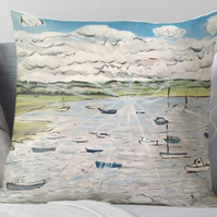 Throw Cushion Featuring The Painting 'Calm, Peace, Tranquility'