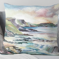 Throw Cushion Featuring The Painting 'Cornish Cove'