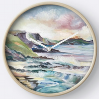 Beautiful Wall Clock Featuring The Painting 'Cornish Cove'