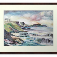 Framed Print Wall Art Taken From The Original Oil Painting 'Cornish Cove'