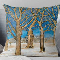 Throw Cushion Featuring The Painting 'Sanctuary Under The Ancient Oak Trees'