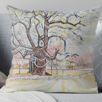 Throw Cushion Featuring The Painting 'Scattering Of Snow'