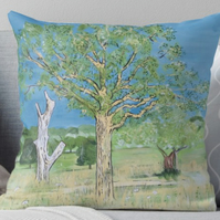 Throw Cushion Featuring The Painting 'Parched Earth And Heatwave'