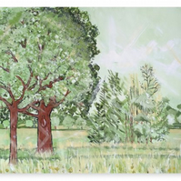 Canvas Print Taken From The Original Oil Painting 'Green And Pleasant Land'