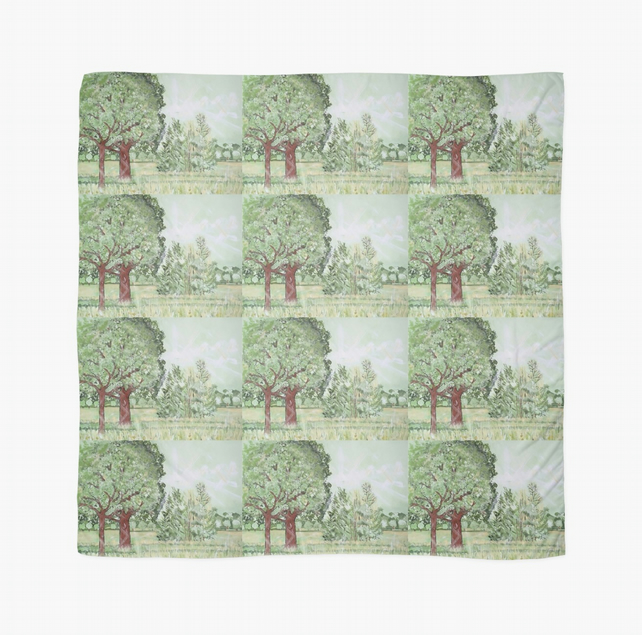 Beautiful Scarf Featuring A Design 'Green And Pleasant Land'