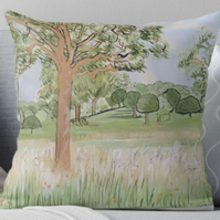 Throw Cushion Featuring The Painting 'In Pursuit Of The Pastoral'