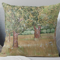 Throw Cushion Featuring The Painting 'Scorching Heat And Withered Grass'