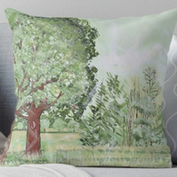 Throw Cushion Featuring The Painting 'Green And Pleasant Land'
