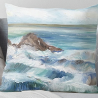 Throw Cushion Featuring The Painting 'Waves'