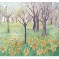 Canvas Print Taken From The Original Oil Painting 'Carpet Of Daffodils'
