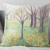 Throw Cushion Featuring The Painting 'Carpet Of Daffodils'