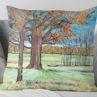 Throw Cushion Featuring The Painting 'Vivid Blue Sky...'