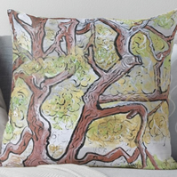 Throw Cushion Featuring The Painting 'Spreading Branches'