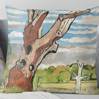 Throw Cushion Featuring The Painting 'The Deadwood Tree'