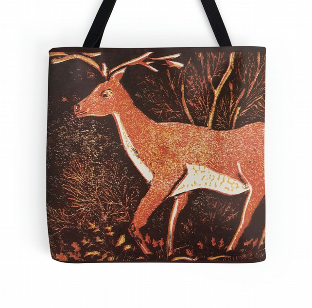 Beautiful Tote Bag Featuring The Design 'Gentle Giant Of The Wood' brown