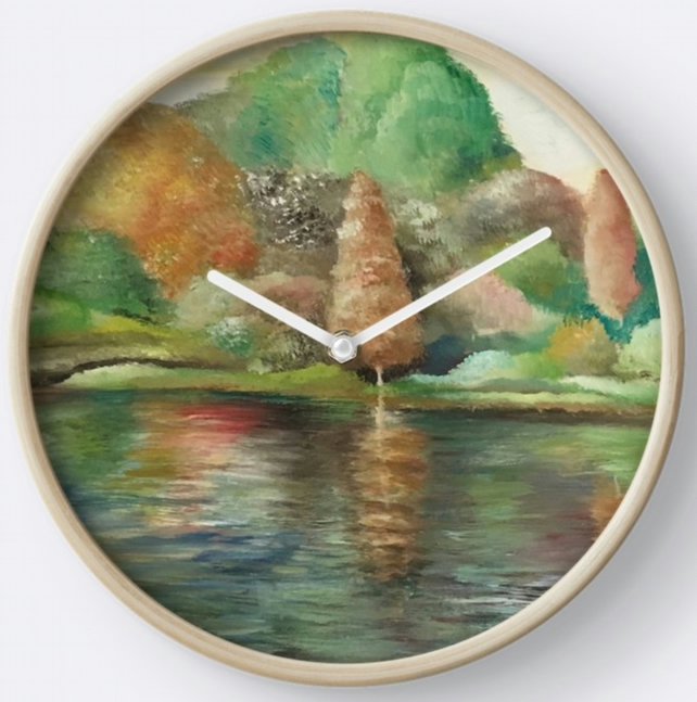 Beautiful Wall Clock Featuring The Painting 'Reflections'