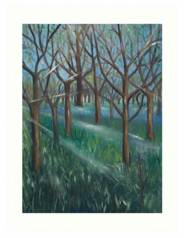 Art Print Taken From The Original Painting 'Inspiration In The Bluebell Wood'
