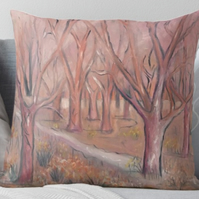 Throw Cushion Featuring The Painting 'Shades Of Pink In The Wild Garden'
