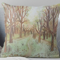 Throw Cushion Featuring The Painting 'Pathway Through The Trees'