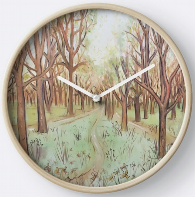 Beautiful Wall Clock Featuring The Painting 'Pathway Through The Trees'