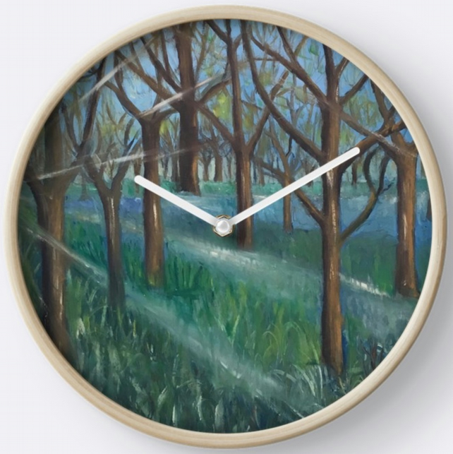 Beautiful Wall Clock Featuring The Painting 'Inspiration In The Bluebell Wood'
