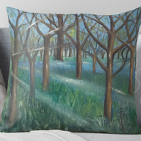 Throw Cushion Featuring The Painting 'Inspiration In The Bluebell Wood'