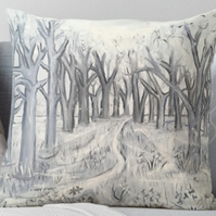 Throw Cushion Featuring The Painting 'Shades Of Grey In The Wild Garden'