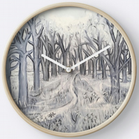 Beautiful Wall Clock Featuring The Painting 'Shades Of Grey In The Wild Garden'