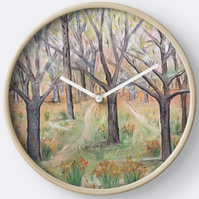 Beautiful Wall Clock Featuring The Painting 'The Way'