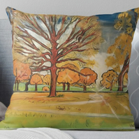 Throw Cushion Featuring The Painting 'Leaves, Colour, Light'