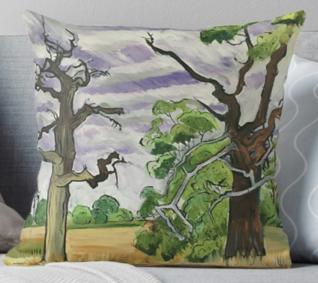 Throw Cushion Featuring The Painting 'No Shelter From The Storms'