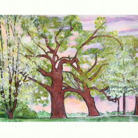 'Wrestling Trees Adorned In Their Finery' Art Print By Sally Anne Wake Jones