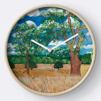 Beautiful Wall Clock Featuring The Original Painting By Sally Anne Wake Jones