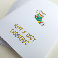 Pack of 10, Cosy Christmas charity cards, FREE UK SHIPPING